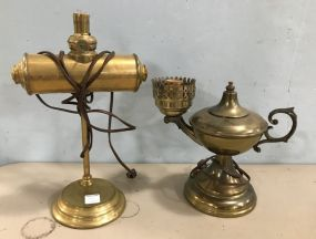 Two Vintage Brass Desk Lamps