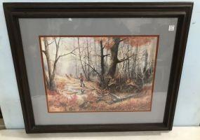 White Tail Deer Hunter Artist Proof Print