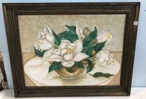 Magnolia Oil Painting on Board