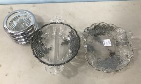 Two Glass Silver Plate Overlay Dishes and Coasters