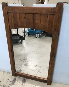 Vintage Primitive Style Oak Finish Wall Mirror