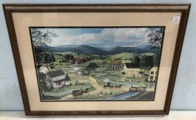 Colonial Village Scene Print