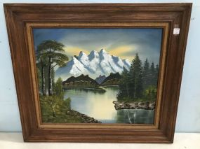 Mountain Lake View Oil Painting On Canvas