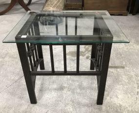 Modern Metal Glass Top Accent Table