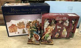 16 Piece Lighted Set Dicken's Ceramics, Nativity Set