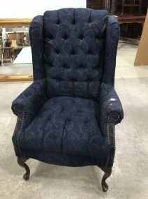 Tufted Navy Blue Queen Anne Arm Chair
