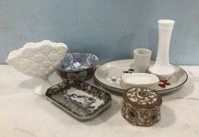 Milk Glass, Hand Painted Porcelain, and Platter