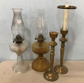 Two Oil Glass Lamps and Brass Candle Stands