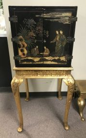Oriental Black Lacquer Cabinet On Stand
