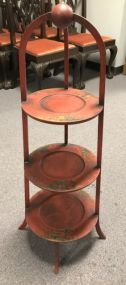 Oriental Red Painted Three Tier Display Stand