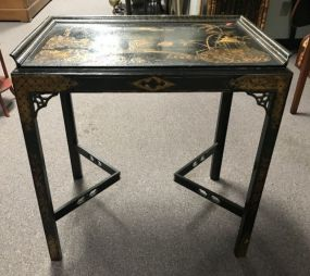 Oriental Black Lacquer Accent Table