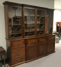 Large Antique English Breakfront China Cabinet