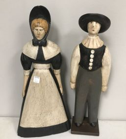 Hand Painted Colonial Style Woman and Man