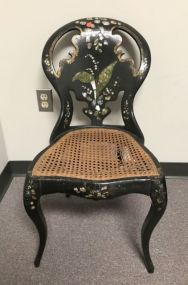 Oriental Black Paper Mache Side Chair