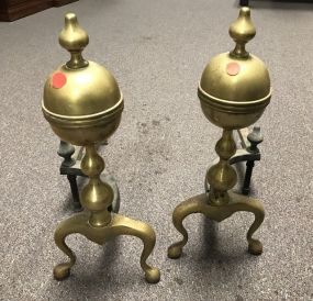 Vintage Colonial Style Brass Andirons