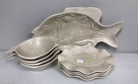 Pottery Fish Platter and Plates