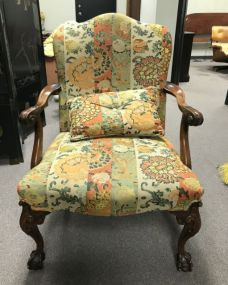 Upholstered Chippendale Style Ball-n-Claw Arm Chair