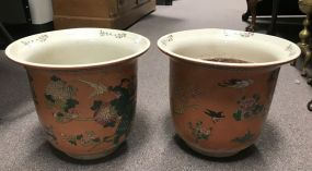 Pair of Hand Painted Oriental Style Porcelain Planters