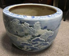 Large Blue & White Oriental Style Planter