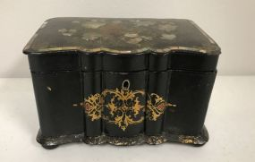 Antique Black Lacquer Mother of Pearl Tea Caddie
