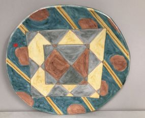 Large Terra Cotta Hand Painted Charger