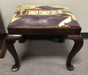 Mahogany Oriental Cushion Footstool