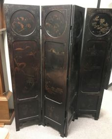 Vintage Hand Painted Five Panel Screen