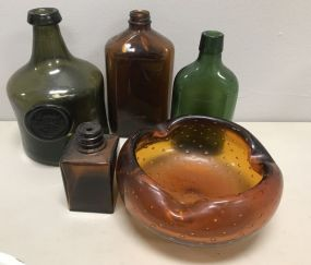 Green Glass Bottles and Art Glass Ashtray