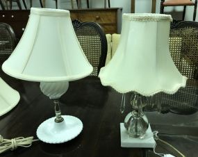 Milk Glass and Glass Prism Lamps