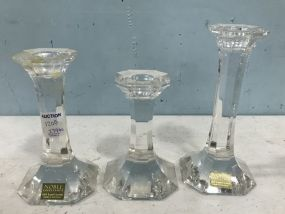 Three Crystal Candle Holders