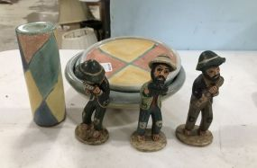 Sam Post Hand Made Pottery and Pottery Men Figurines