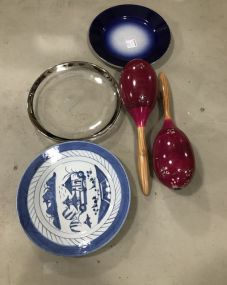 Three Collectible Plates and Maracas