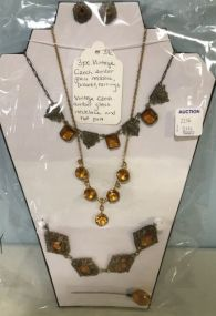 Three Piece Vintage Czech Amber Necklace, Bracelet, Earrings