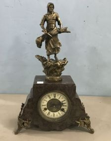 Antique French Marble Figural Mantle Clock