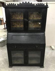 Primitive Plantation Style Drop Secretary Bookcase