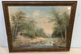 Walter Simmons Hunt River Landscape Watercolor