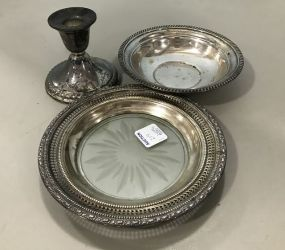 Group of Sterling Candle Holder, Glass bowl, and Bowl