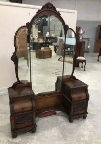 Vintage Depression Era Double Pedestal Vanity