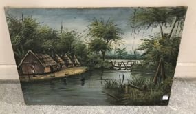 Vintage Oil Painting of Tribe by River