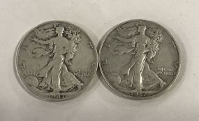 Two Walking Liberty Half Dollar 1947, 1937