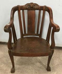 Antique Carved Crest Walnut Gentleman's Chair