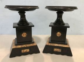 Pair of Neoclassical Black Marble Tazza Candle Stands