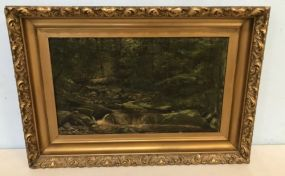 Antique Oil Painting of Creek and Woods
