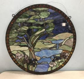 Round Stained Slag Glass Window Panel