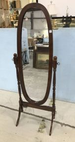 Powell Cherry Oval Cheval Mirror