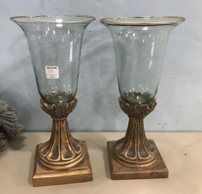Pair of Modern Gold Gilt Candle Holders