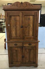 Vintage Oak Two Piece Cabinet