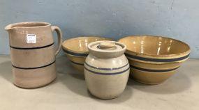 Four Blue Label Stoneware Pottery