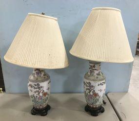 Pair of Oriental Porcelain Vase Table Lamps