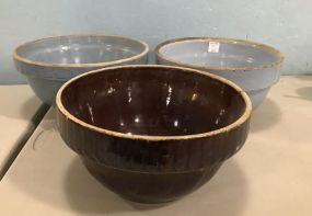 Pair of Blue Stoneware Pottery Bowls and Brown Glaze Stoneware Bowl